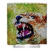 Stained Glass Leopard 3 Shower Curtain