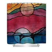 Stained Glass Moonrise Shower Curtain
