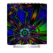 Stained Glass Passion Flowers Shower Curtain