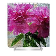 Stained Glass Peonies Shower Curtain