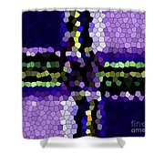 Stained Glass Purple Cross Shower Curtain