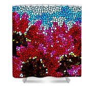 Stained Glass Red Sunflowers Shower Curtain