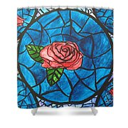 Stained Glass Roses Shower Curtain
