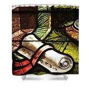 Stained Glass Scroll Shower Curtain
