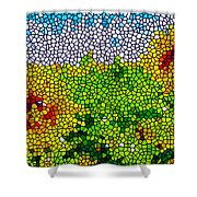 Stained Glass Sunflowers Shower Curtain