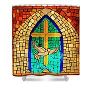 Stained Glass Window At Santuario De Chimayo Shower Curtain