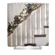 Stairs At Christmas Shower Curtain by Margie Hurwich