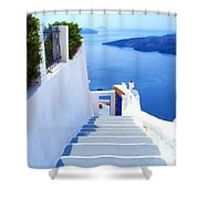 Stairs To The Blue Door Shower Curtain