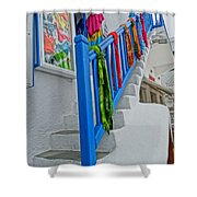 Stairs With Blue Railing In Mykonos Greece Shower Curtain