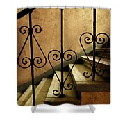 Stairs With Ornamented Handrail Shower Curtain