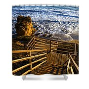 Steps To Blue Ocean And Rocky Beach Shower Curtain
