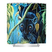 Stalking Black Panther Shower Curtain