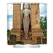 Standing Buddha At Wat Mahathat In 13th Century Sukhothai Historical Park-thailand Shower Curtain