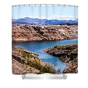 Standing In A Ravine At Lake Mead Shower Curtain