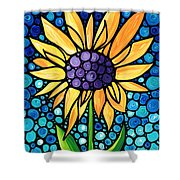 Standing Tall - Sunflower Art By Sharon Cummings Shower Curtain by Sharon Cummings