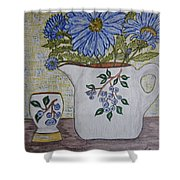 Stangl Blueberry Pottery Shower Curtain