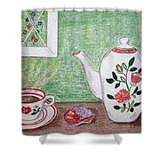 Stangl Pottery Rose Pattern Shower Curtain