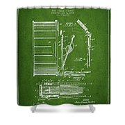 Stanton Bass Drum Patent Drawing From 1904 - Green Shower Curtain