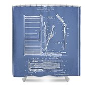 Stanton Bass Drum Patent Drawing From 1904 - Light Blue Shower Curtain