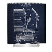 Stanton Bass Drum Patent Drawing From 1904 - Navy Blue Shower Curtain
