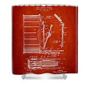 Stanton Bass Drum Patent Drawing From 1904 - Red Shower Curtain