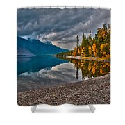 Stanton Mountain With Mount Vaught And Mcpartland Reflected In Lake Mcdonald Shower Curtain