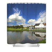 Star Barn And Pond Shower Curtain