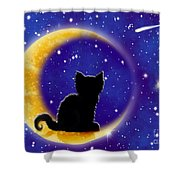 Star Gazing Cat Shower Curtain