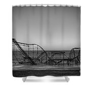 Star Jet Roller Coaster Bw Shower Curtain