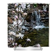 Star Magnolia And Flowing Water Shower Curtain