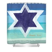 Star Of David In Blue - Thank You Card Shower Curtain by Linda Woods