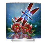 Star Spangled Dragonfly Shower Curtain