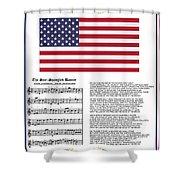 Star Splangled Banner Music  Lyrics And Flag Shower Curtain