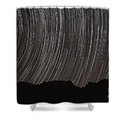 Star Trails Above A Valley Shower Curtain by Amin Jamshidi