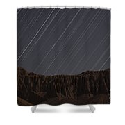Star Trails Above Martians Valley Shower Curtain by Amin Jamshidi