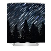 Star Trails And Pine Trees Shower Curtain