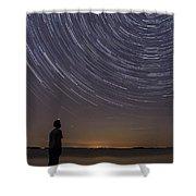 Star Trails Night Sky Landscape Vermont Lake Champlain Shower Curtain