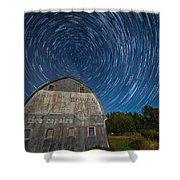 Star Trails Over Barn Shower Curtain