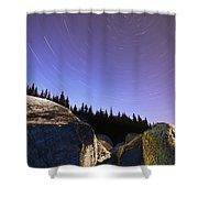 Star Trails Over Rocks In Saguenay-st Shower Curtain