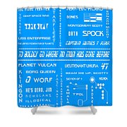 Star Trek Remembered In Blue Shower Curtain by Georgia Fowler