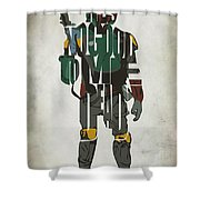 Star Wars Inspired Boba Fett Typography Artwork Shower Curtain