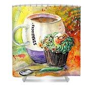 Starbucks Mug And Easter Cupcake Shower Curtain