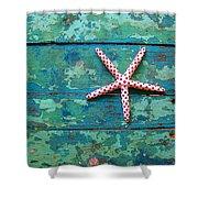 Seashore Peeling Paint - Starfish And Turquoise Shower Curtain