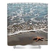 Starfish Catching The Waves Shower Curtain