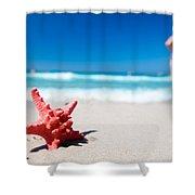 Starfish On Tropical Beach Shower Curtain
