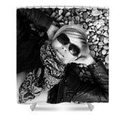 Stargazing At Noon Bw Shower Curtain
