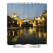 Stari Most By Night  Shower Curtain