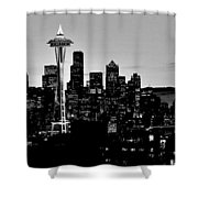 Stark Seattle Skyline Shower Curtain