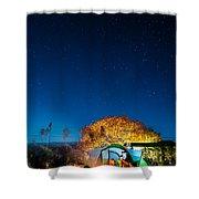 Starry Camp Fire Shower Curtain
