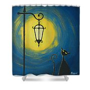 Starry Cat Night Shower Curtain